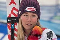 Mikaela Shiffrin looks to  her Nana after winning the slalom at the AUDI FIS Ski World Cup Slalom at Killington. Copyright Mark D Phillips