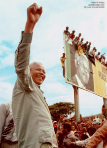 Nelson Mandela in Durban, South Africa, during his campaign for the presidency against Willem de Klerk in 1994. ©Mark D Phillips