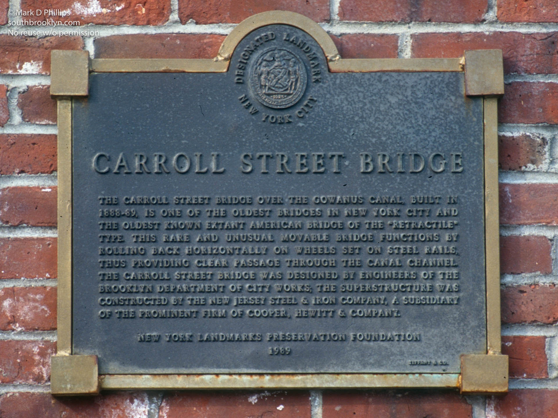 Carroll Street Bridge over the Gowanus Canal historical marker