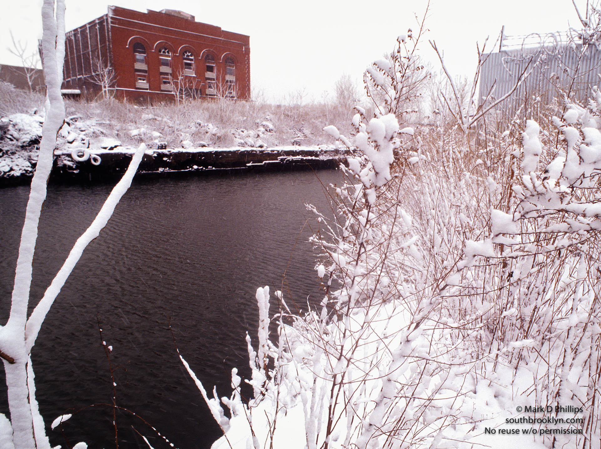 Dynamo Building over the Gowanus Canal in Brooklyn, NY during snowstorm