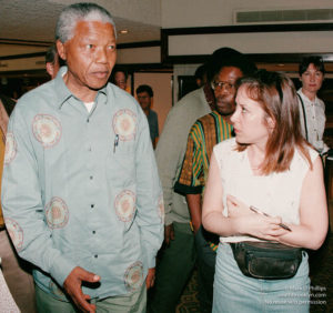 Andrea Peyser asks Nelson Mandela questions on the eve of his 1994 election in South Africa. ©Mark D. Phillips