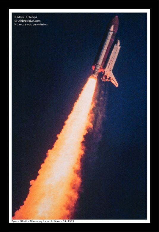 The Space Shuttle Discovery, photographed in its second launch to space after the Challenger disaster by Mark D Phillips, was the workhorse of the fleet with 39 missions.