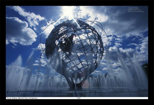 13 x 19 Framed Print, ©Mark D Phillips; The Unisphere in Corona Park, New York City, built for the 1964 World's Fair denotes the three orbits by John Glenn on February 20, 1962.