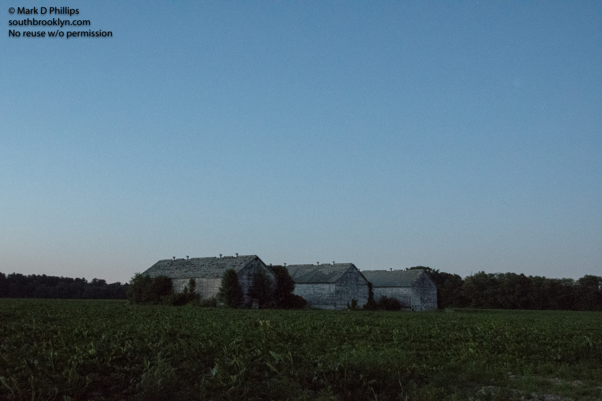 Tobacco barns after sunset in Simsbury, Connecticutt.